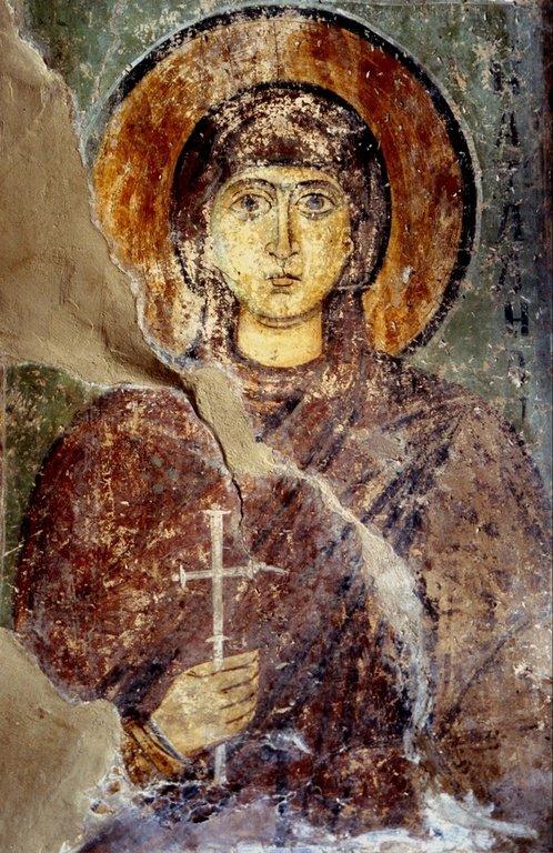 Святая Мученица Наталия Никомидийская. Фреска Софийского собора в Киеве. XII век.