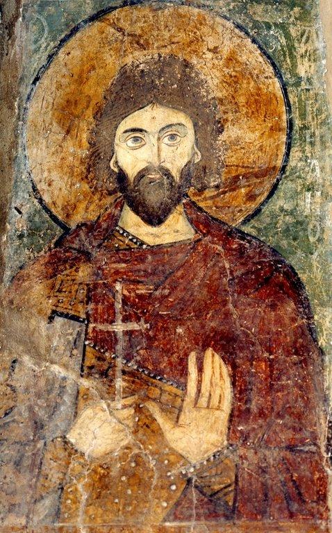Святой Мученик Адриан Никомидийский. Фреска Софийского собора в Киеве. XII век.