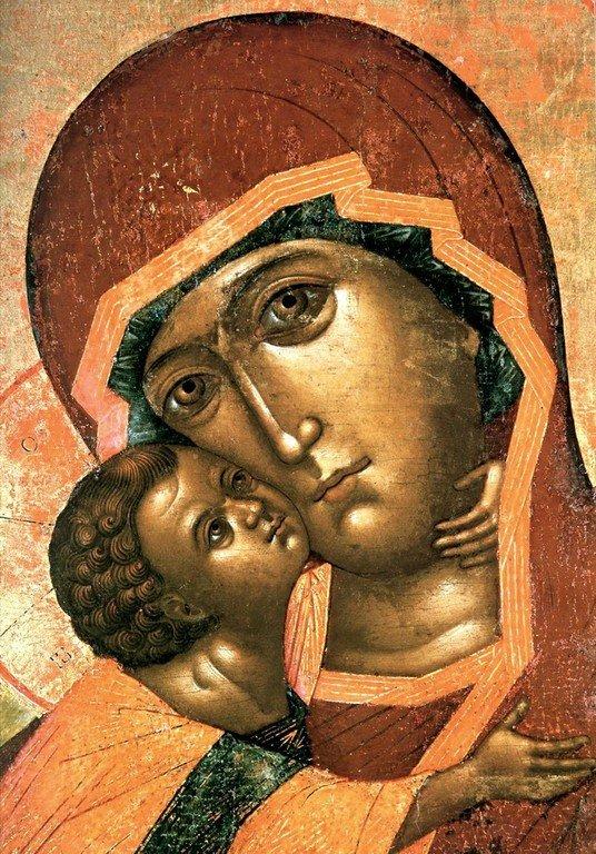 Владимирская икона Божией Матери. 1660 год. Фрагмент.