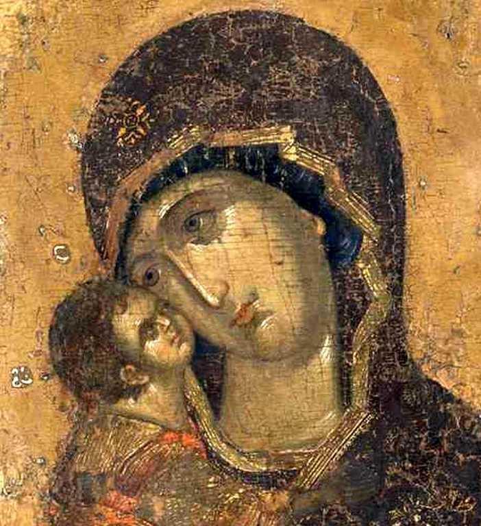 Владимирская икона Божией Матери. Конец XIV - начало XV века. Фрагмент.