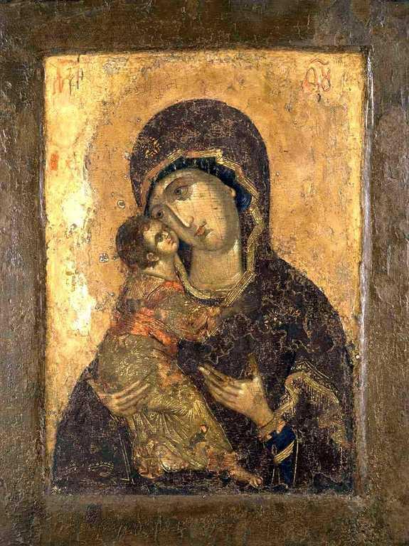 Владимирская икона Божией Матери. Конец XIV - начало XV века.