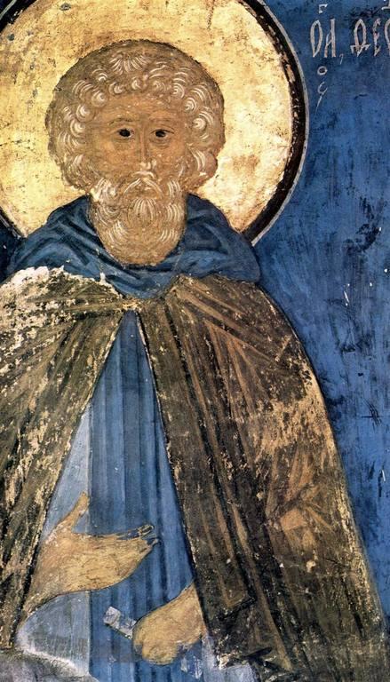Святой Преподобный Моисей Мурин. Фреска Успенского собора Московского Кремля. 1479 - 1481 годы.