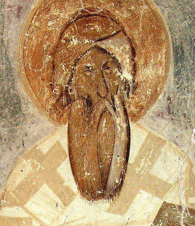 Священномученик Анфим, Епископ Никомидийский. Фреска Феофана Грека в церкви Спаса Преображения на Ильине улице в Новгороде. 1378 год.