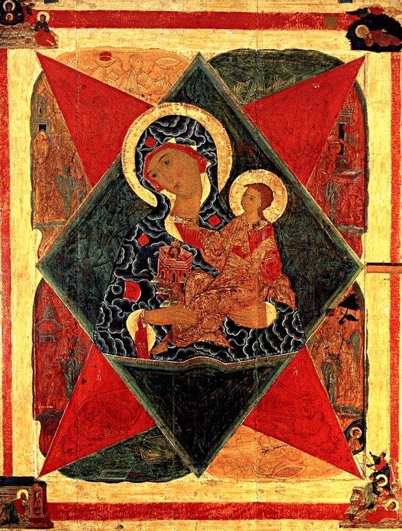"""Икона Божией Матери """"Неопалимая Купина"""". Россия, XVI век."""