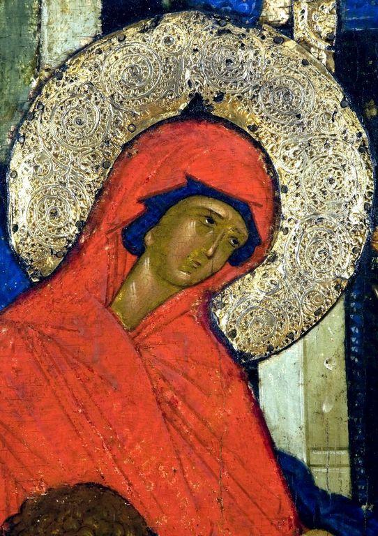 Рождество Пресвятой Богородицы. Икона из Кирилло-Белозерского монастыря. Около 1497 года. Фрагмент.