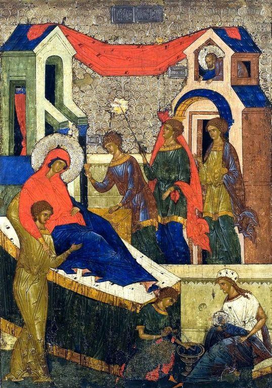 Рождество Пресвятой Богородицы. Икона из Кирилло-Белозерского монастыря. Около 1497 года.