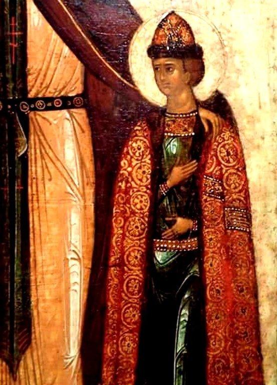 Святые Благоверные Князья Феодор, Давид и Константин Ярославские. Фрагмент иконы.