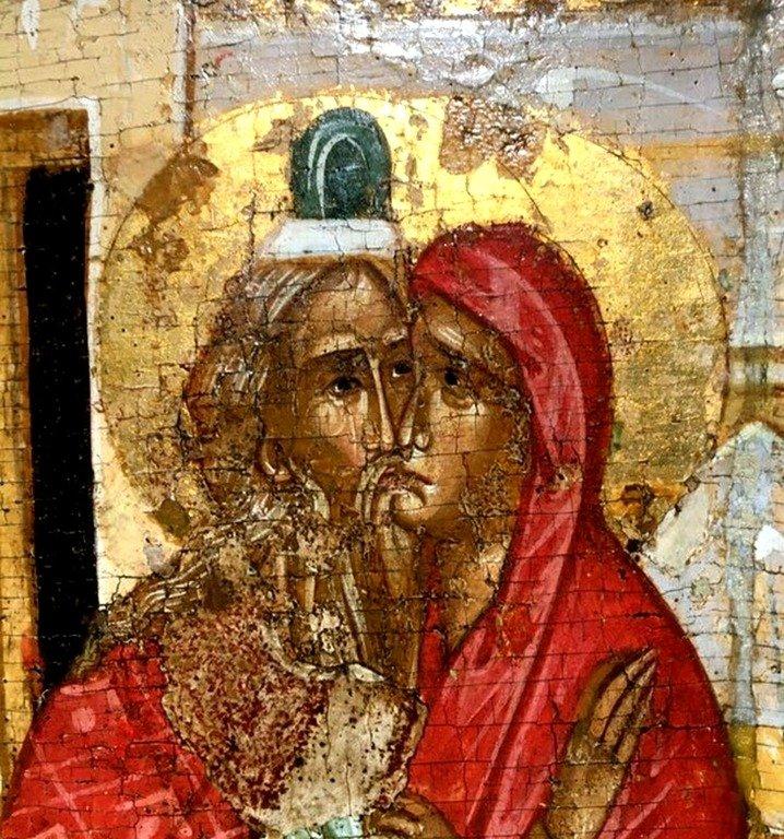 Зачатие Святого Иоанна Предтечи. Икона. Новгород, вторая половина - конец XV века. Фрагмент.