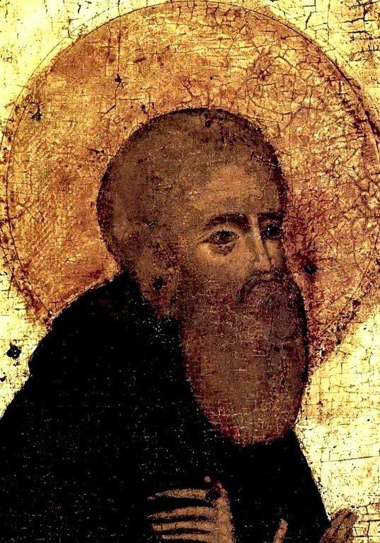 Святой Преподобный Сергий, игумен Радонежский, Чудотворец. Фрагмент иконы начала XV века из Стефано-Махрищского монастыря.