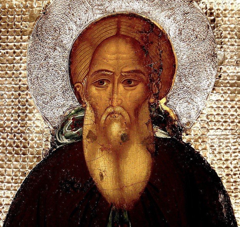 Святой Преподобный Сергий, игумен Радонежский, Чудотворец. Икона XVI века из Троице-Сергиевой Лавры. Лик.