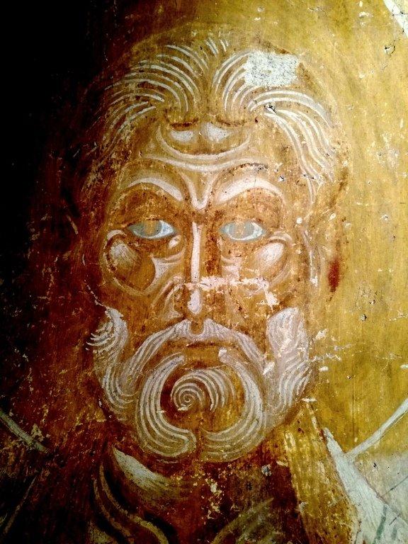 Святитель. Фреска церкви Благовещения в Аркажах в Великом Новгороде. Около 1189 года.