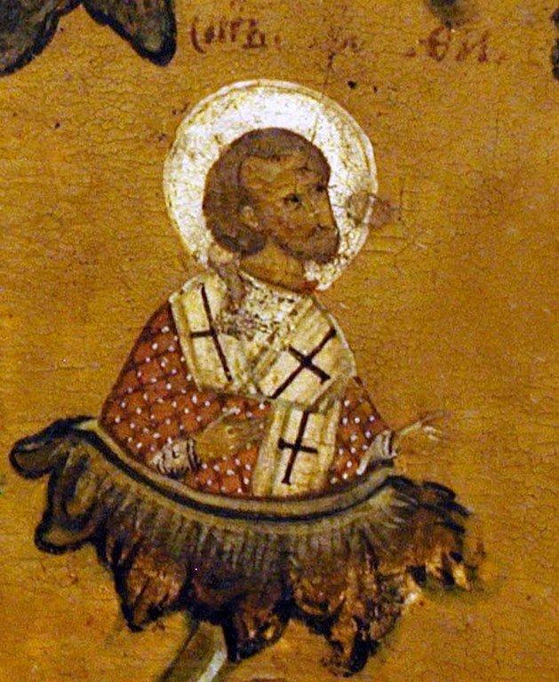 Святитель Амфилохий, Епископ Владимиро-Волынский. Фрагмент иконы. Углич, 1660-е годы.