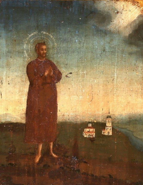 Святой Блаженный Андрей Тотемский, Христа ради юродивый. Русская икона конца XVIII века.