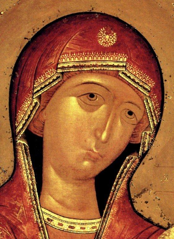 Седмиезерная икона Божией Матери. Строгановская школа иконописи, около 1606 года. Фрагмент.