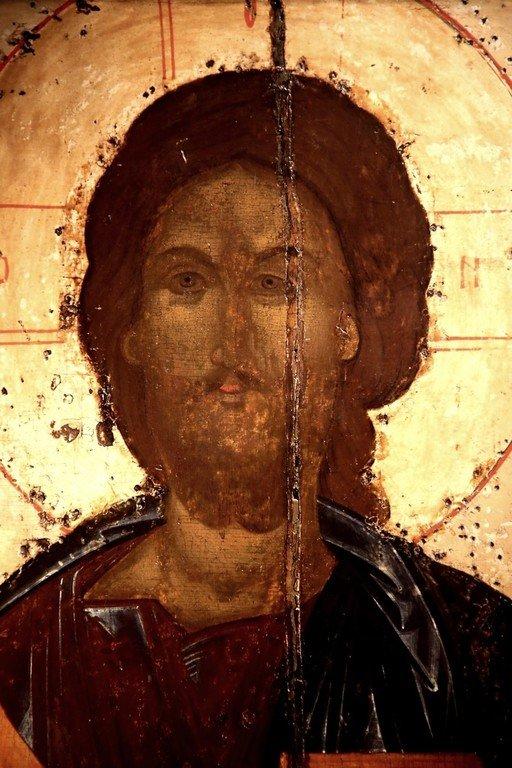 Господь Вседержитель. Икона из Покровского монастыря в Суздале. 1360-е годы. ГТГ. Фрагмент.