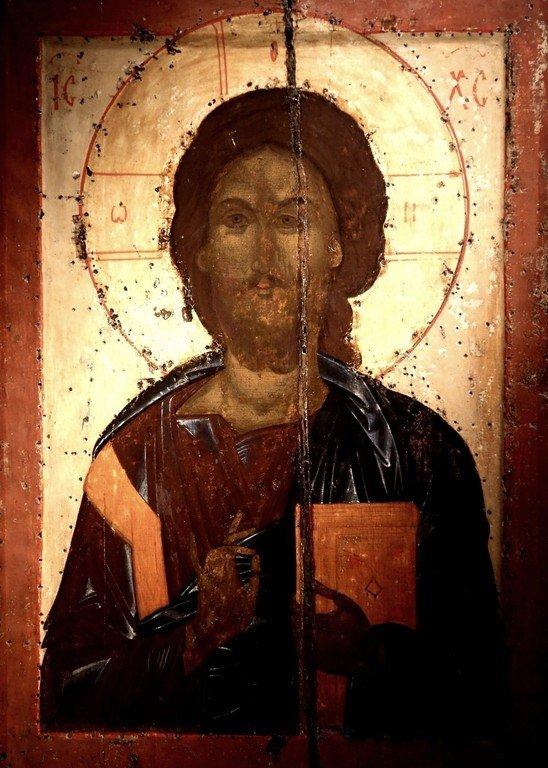 Господь Вседержитель. Икона из Покровского монастыря в Суздале. 1360-е годы. ГТГ.