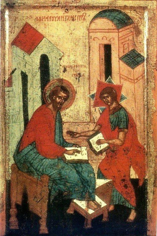 Святой Апостол и Евангелист Лука и Премудрость Божия. Фрагмент Царских врат. Тверь, XV век.