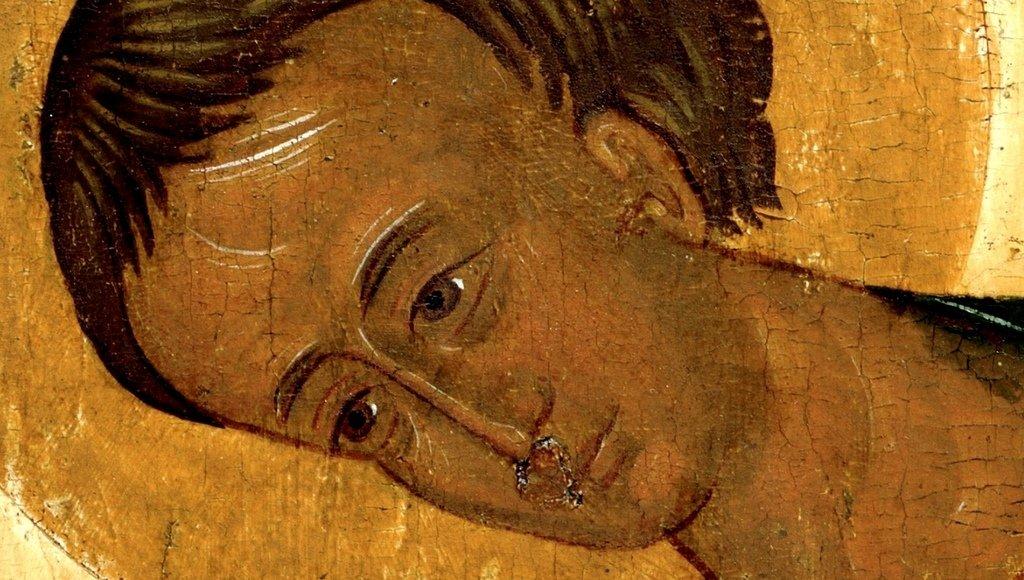 Святой Великомученик Димитрий Солунский. Икона из церкви Ризоположения села Бородава (близ Ферапонтова монастыря). Около 1485 года. Кирилло-Белозерский музей-заповедник. Фрагмент.
