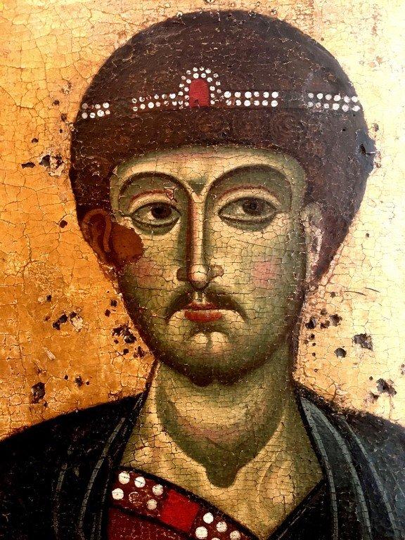 Святой Великомученик Димитрий Солунский. Икона владимиро-суздальской школы конца XII века. Фрагмент.