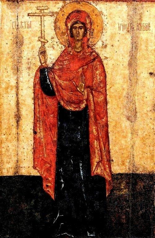 Святая Великомученица Параскева Пятница, с житием. Икона. Псков, конец XIV - начало XV века. Фрагмент.