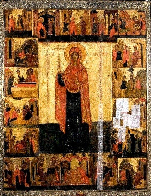 Святая Великомученица Параскева Пятница, с житием. Икона. Псков, конец XIV - начало XV века.