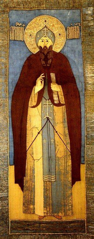 Святой Преподобный Варлаам Хутынский. Пелена XVI века.