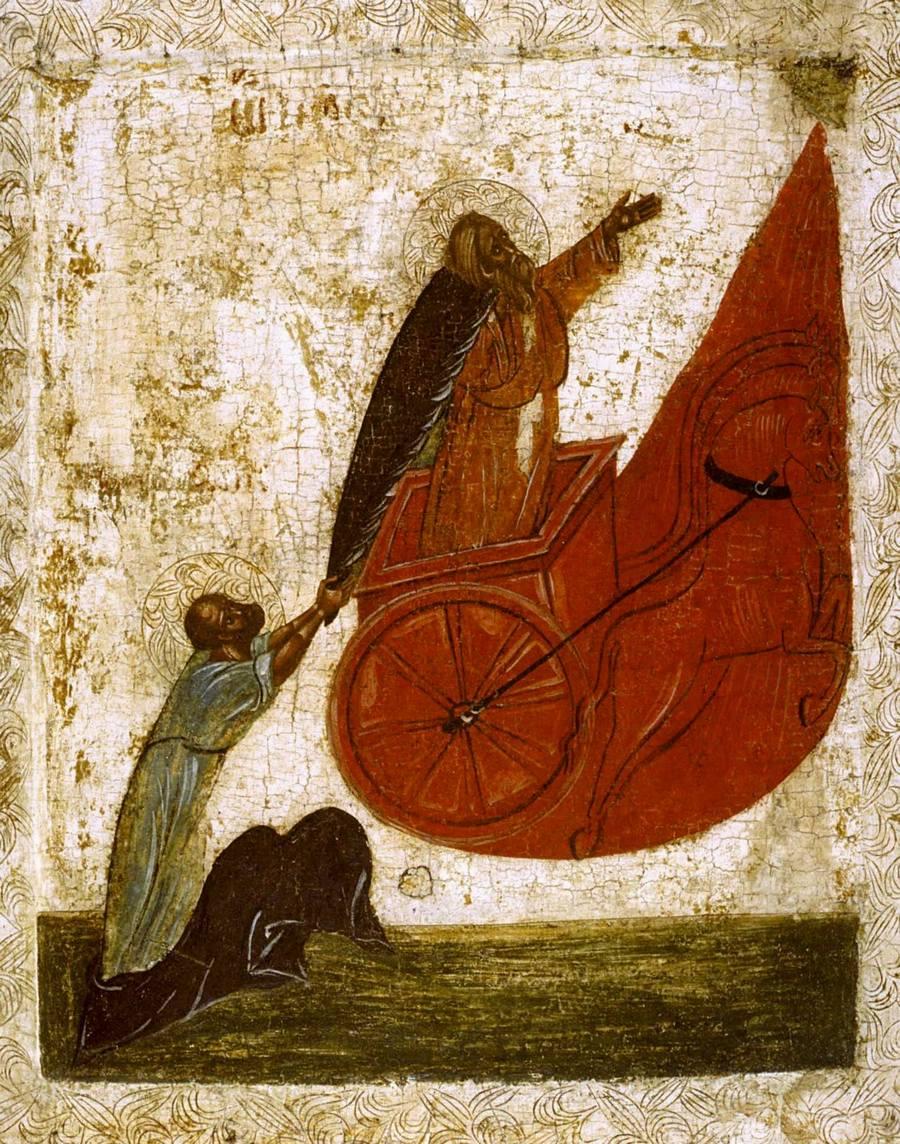 Огненное восхождение Святого Пророка Божия Илии. Икона. Новгород, начало XV века.
