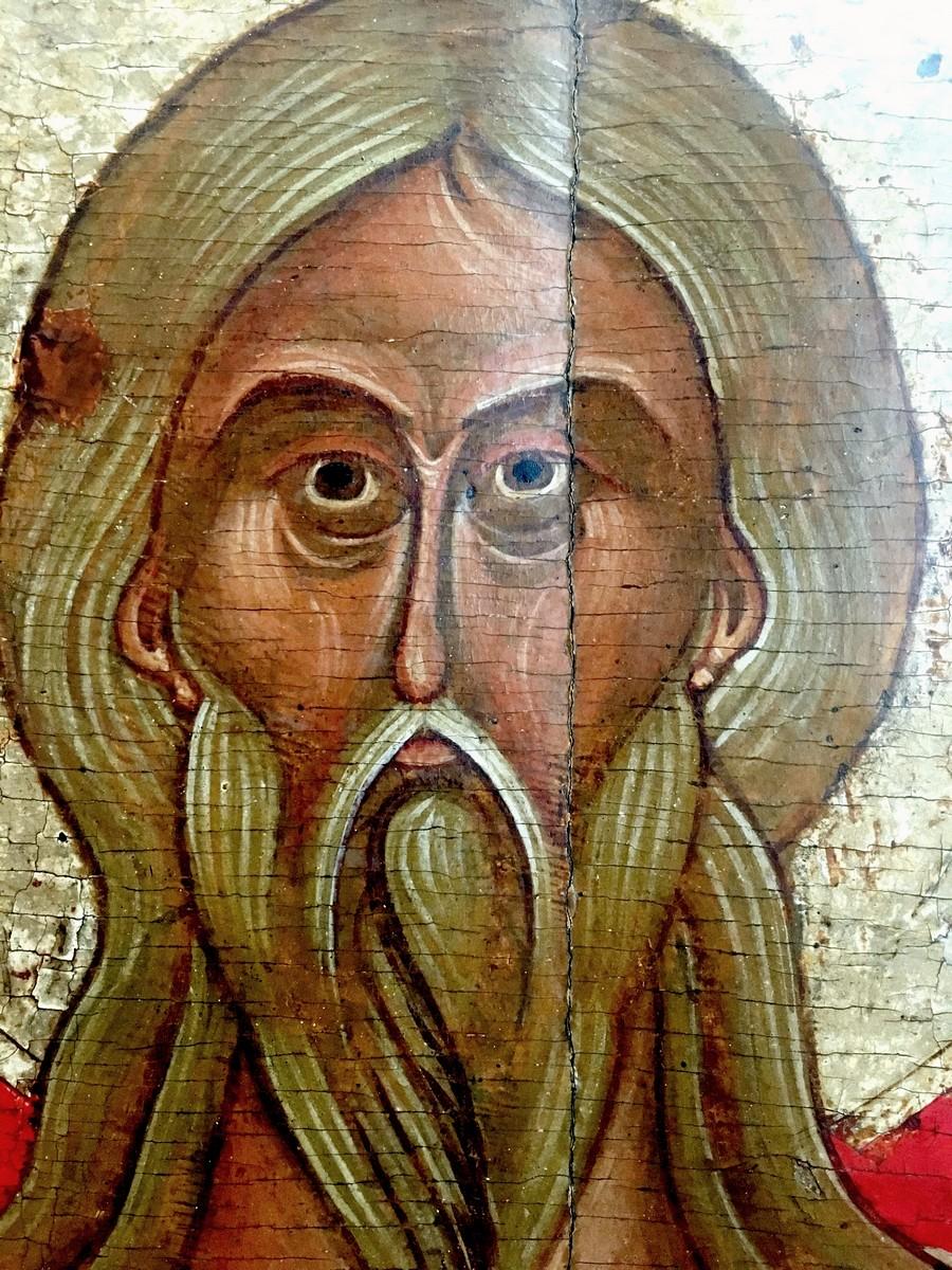 Святой Пророк Божий Илия. Фрагмент новгородской иконы конца XIV - начала XV века.