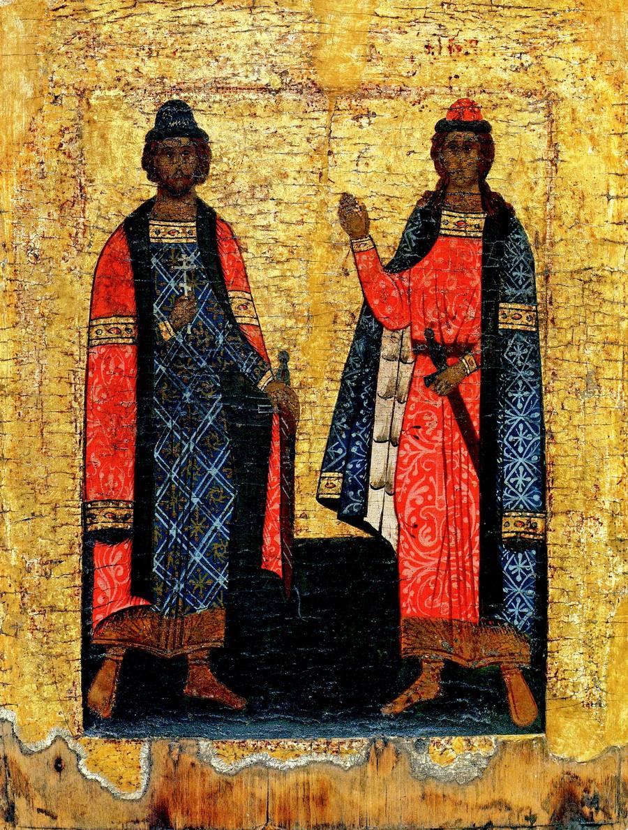 Святые Мученики Благоверные Князья Борис и Глеб. Икона. Средняя Русь, 1550 - 1560-е годы.