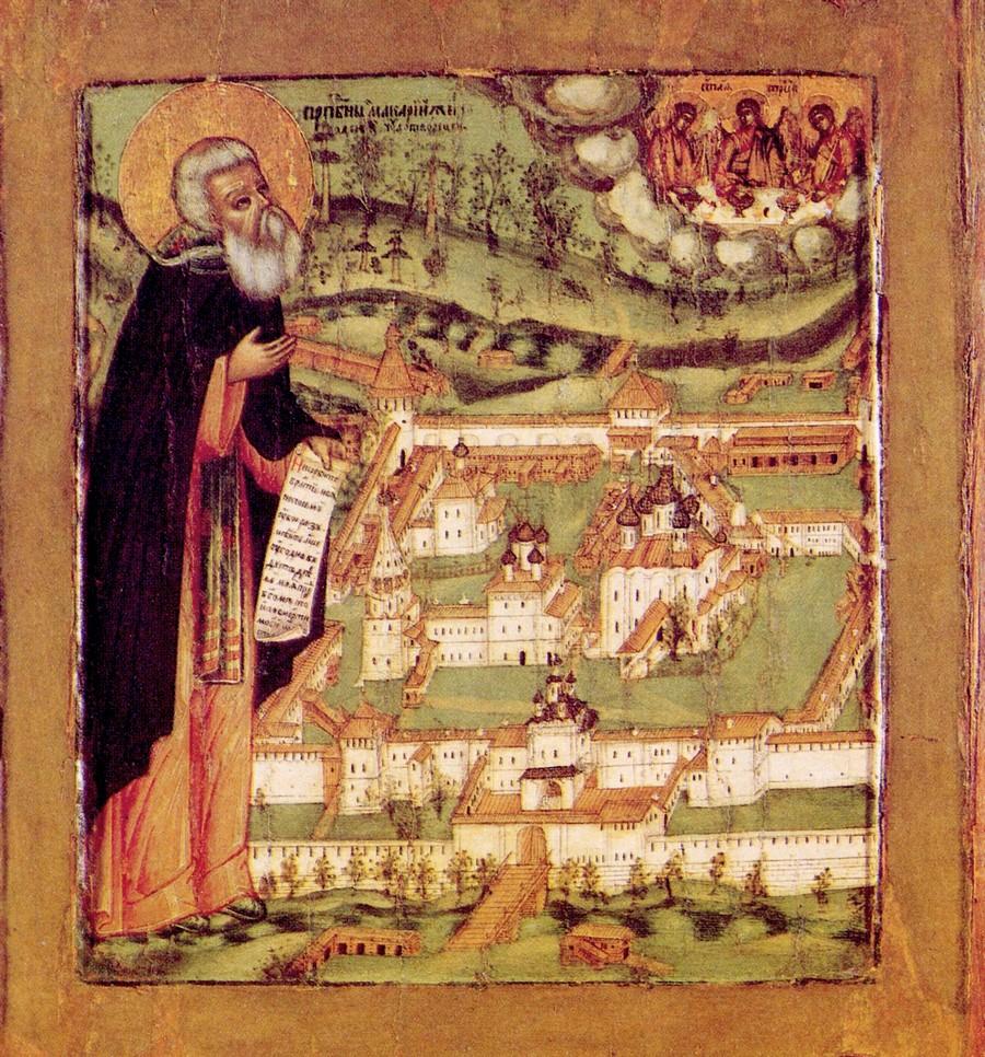Святой Преподобный Макарий Желтоводский и Унженский, Чудотворец. Икона. Россия, 1694 год.