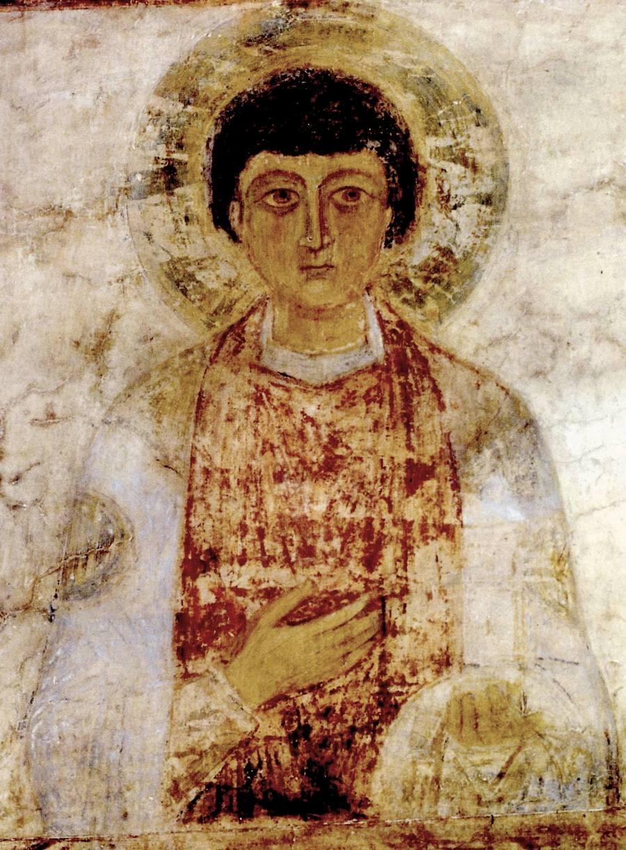 Святой Великомученик и Целитель Пантелеимон. Фреска Софийского собора в Киеве. XI век.