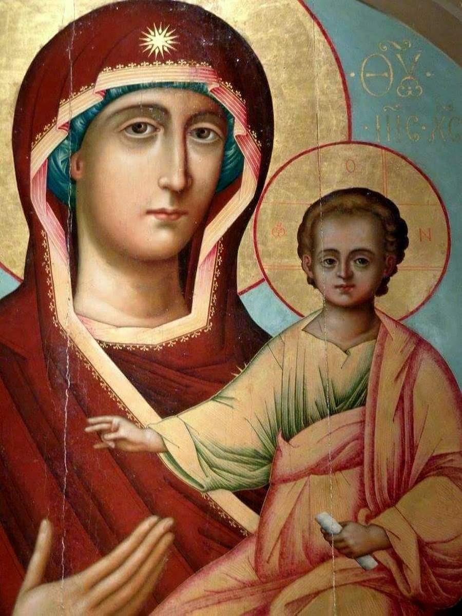 """Смоленская икона Божией Матери, именуемая """"Одигитрия"""". XVII век. Фрагмент."""