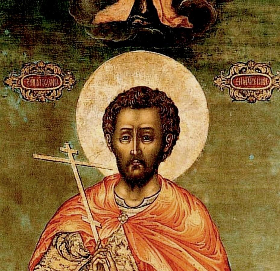 Святой Мученик Иоанн Воин. Икона. Ярославль, вторая четверть XVIII века. Фрагмент.