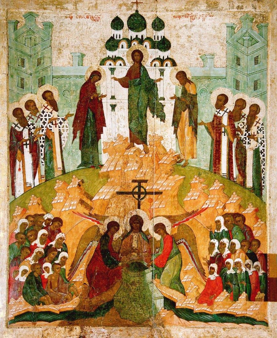 Происхождение (изнесение) Честных Древ Животворящего Креста Господня. Русская икона 1510 года.