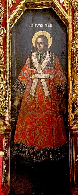 Святой Мученик Архидиакон Лаврентий. Образ на диаконских дверях иконостаса Троицкого собора в Пскове. Конец XVII века.