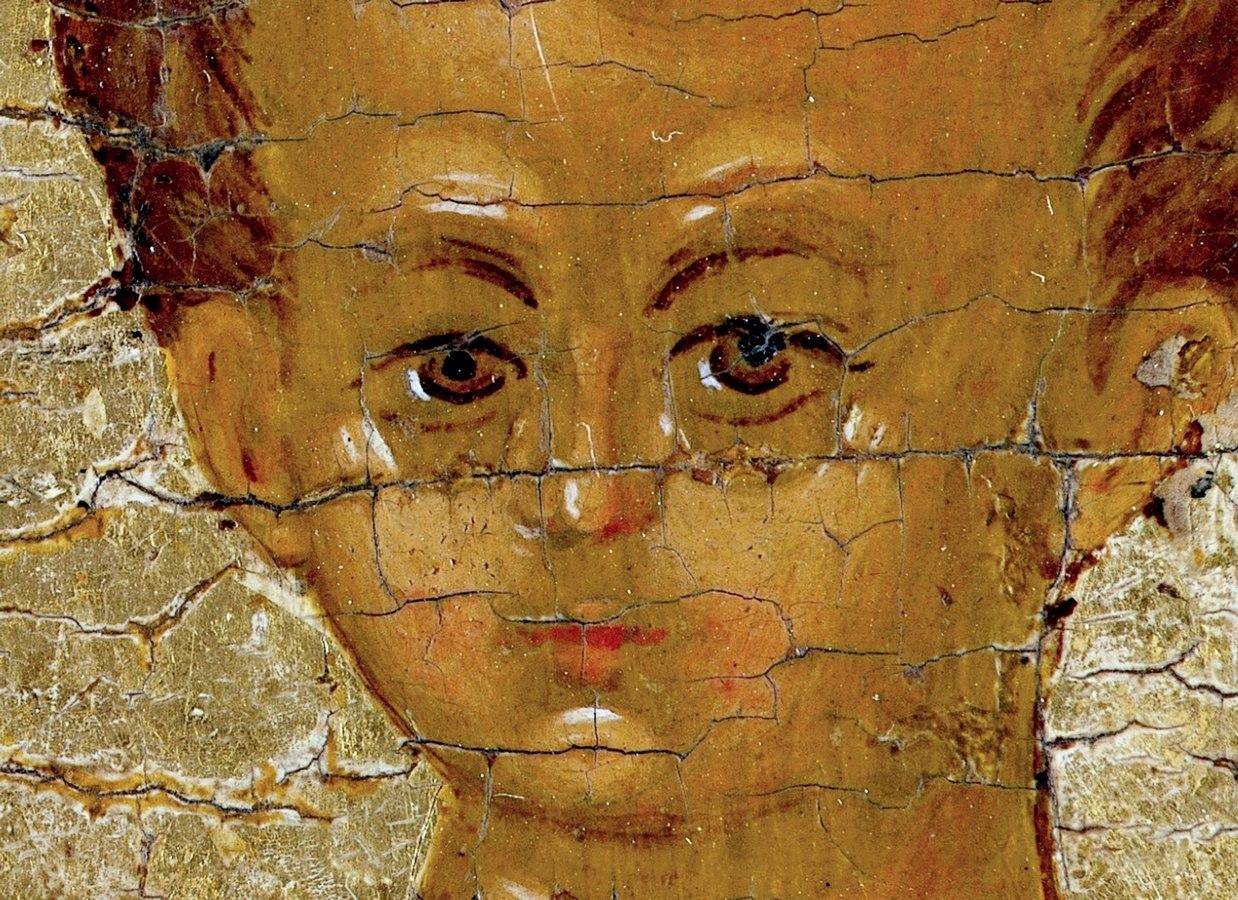 """Икона Божией Матери """"Одигитрия"""". Ростов Великий, конец XV века. Фрагмент."""