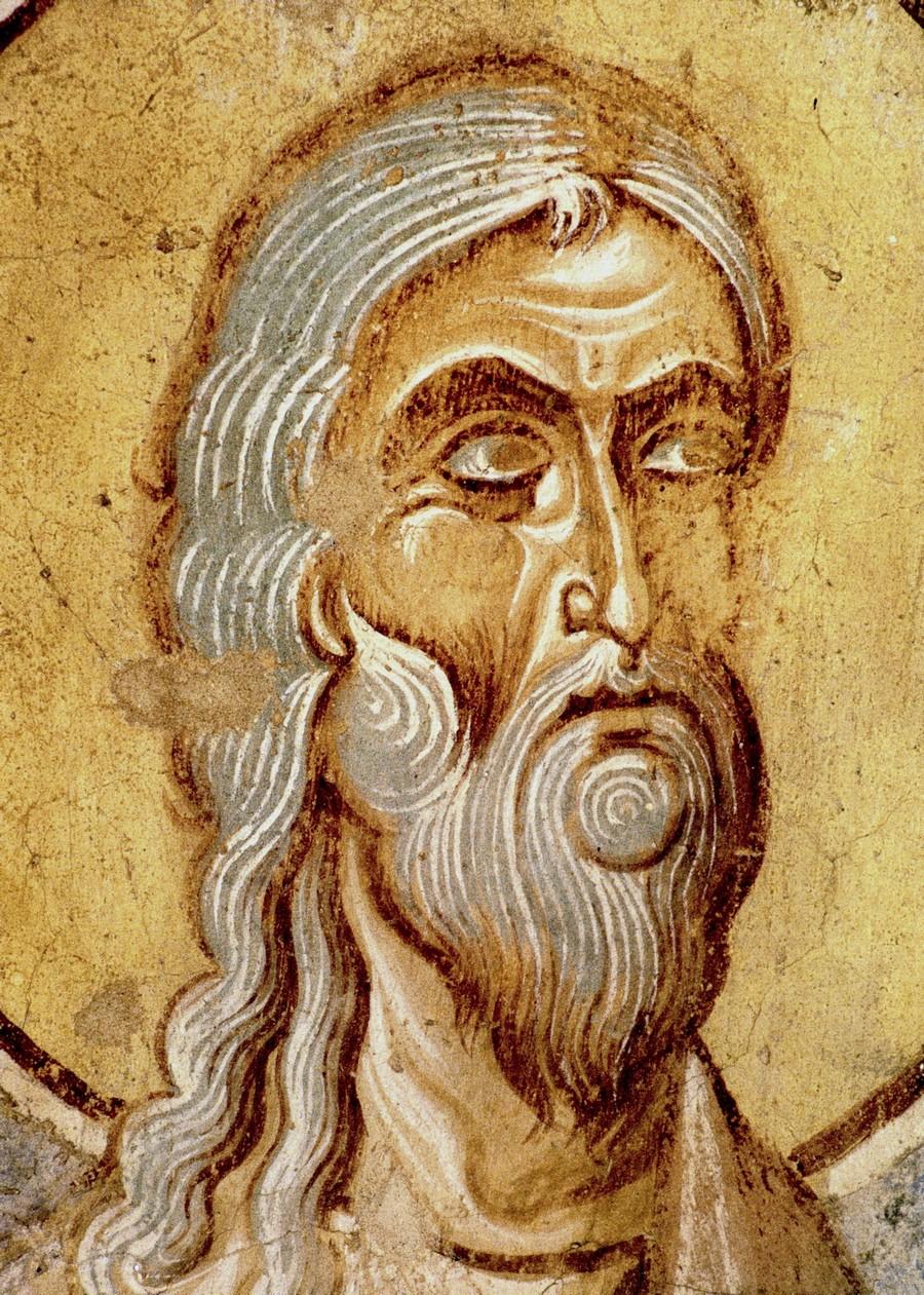 Святой Пророк Михей. Фреска церкви Святого Георгия в Старой Ладоге. Последняя четверть XII века.
