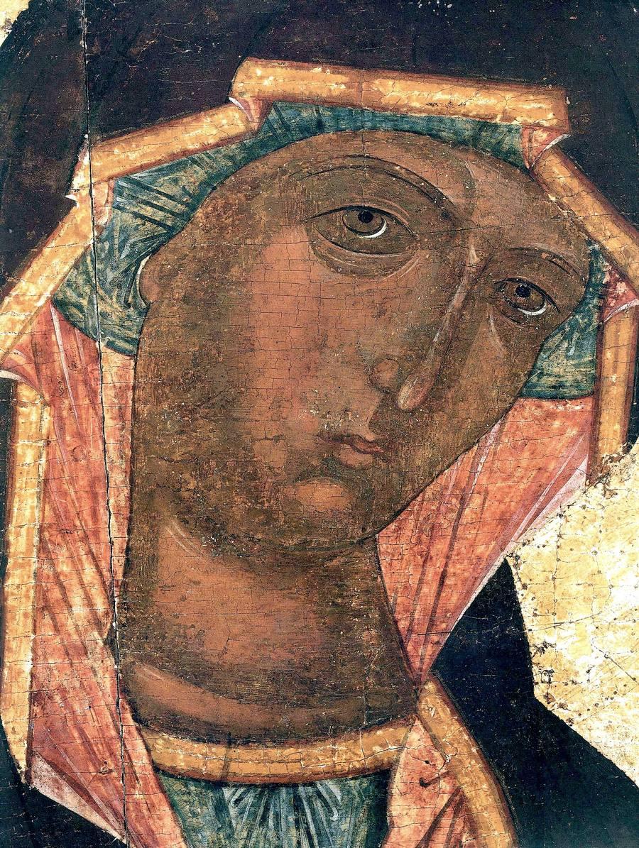 Грузинская икона Божией Матери. Новгород, конец XV века. Фрагмент.