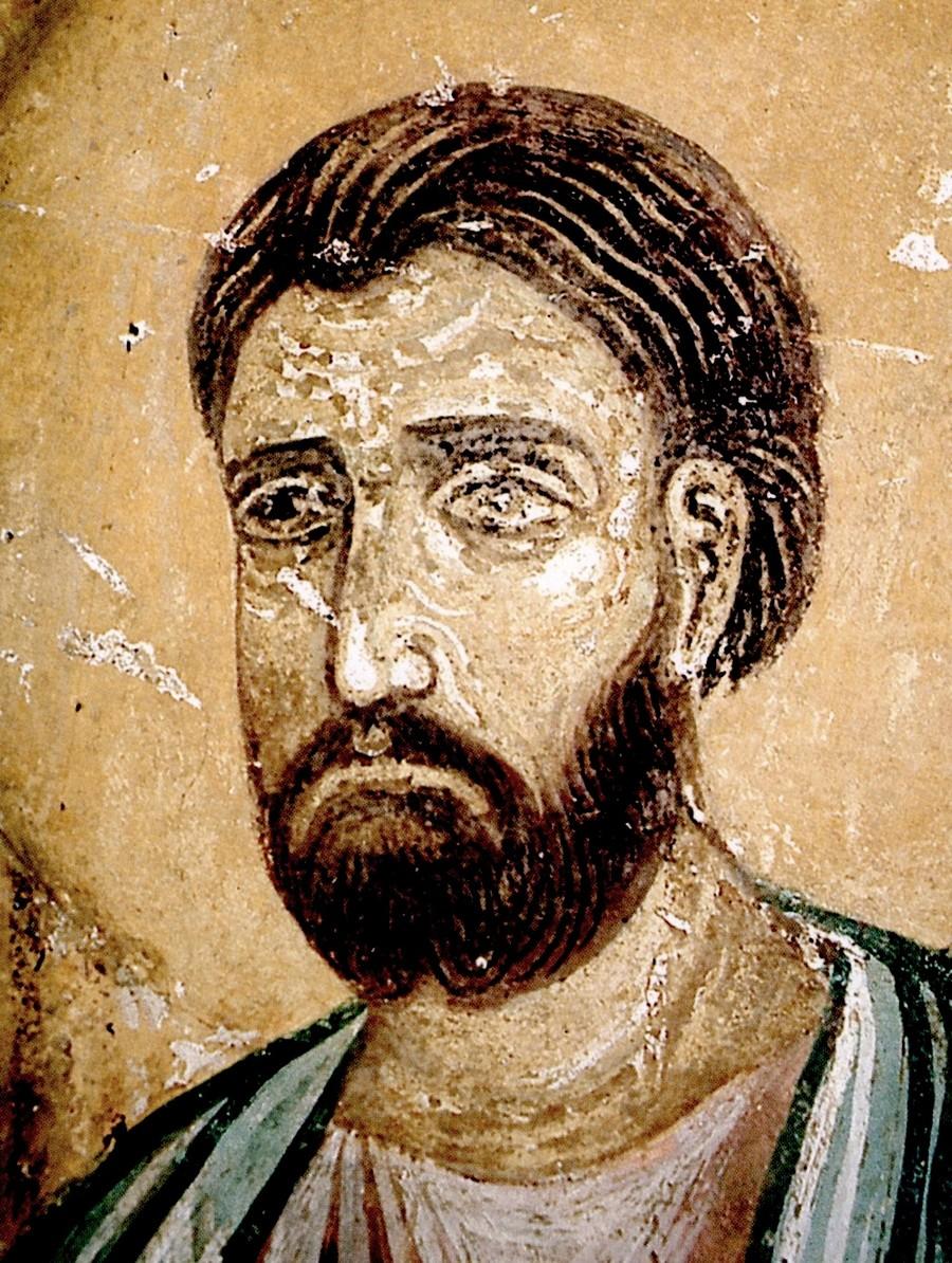 """Лик Святого Апостола. Фрагмент композиции """"Уверение Апостола Фомы"""". Фреска Спасо-Преображенского собора Мирожского монастыря в Пскове. Около 1140 года."""