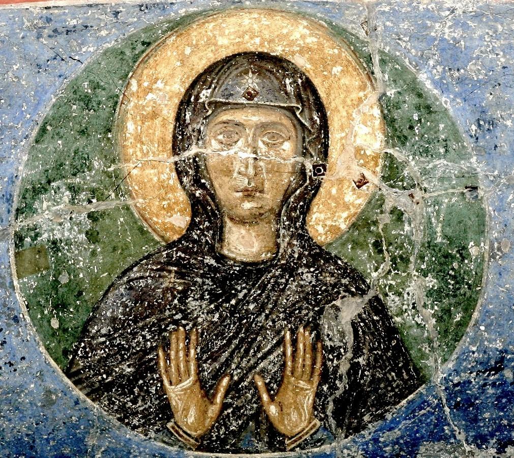 Пресвятая Богородица. Фреска Спасо-Преображенского собора Мирожского монастыря в Пскове. Около 1140 года.