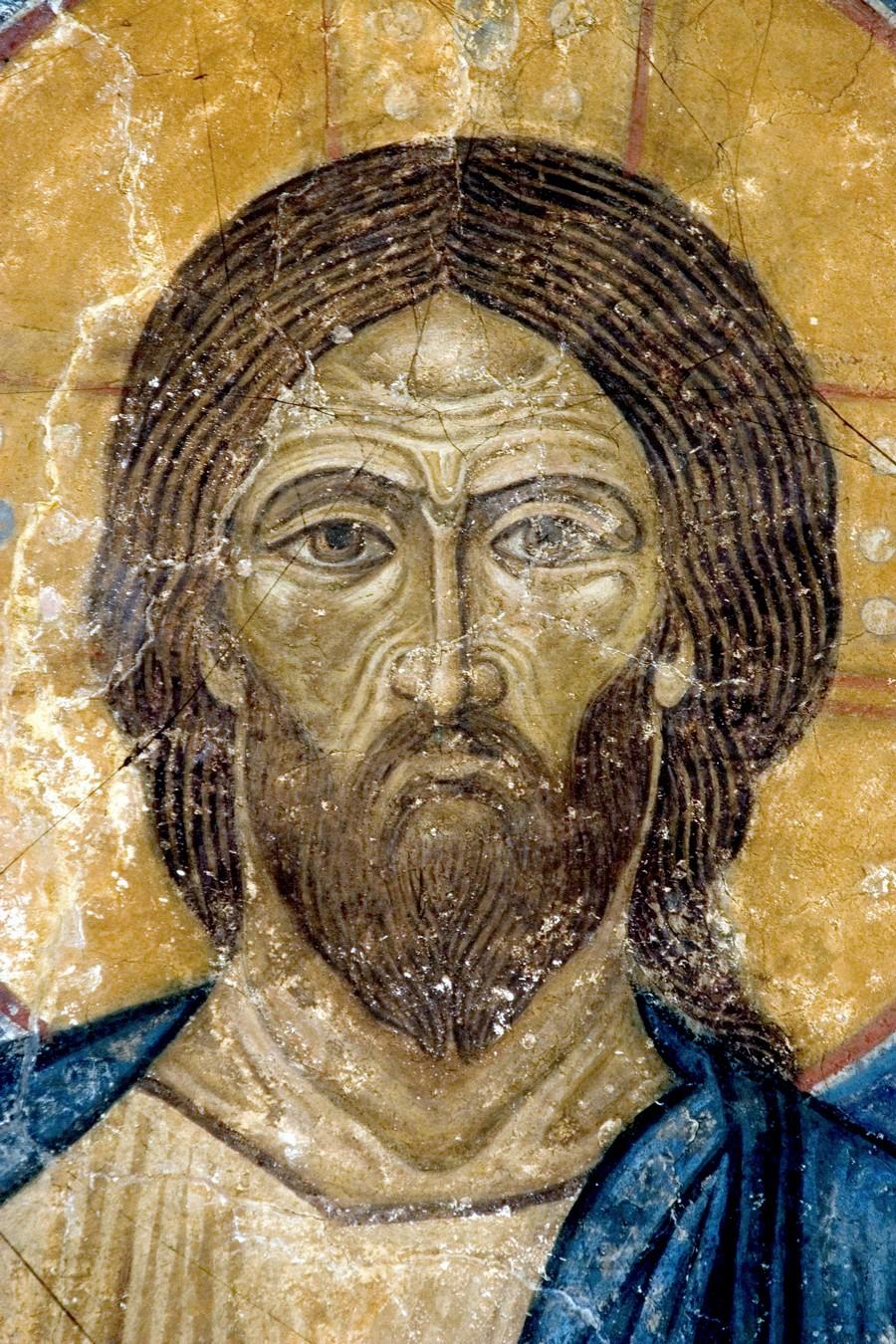 Господь Иисус Христос на Престоле. Фреска Спасо-Преображенского собора Мирожского монастыря в Пскове. Около 1140 года. Фрагмент.