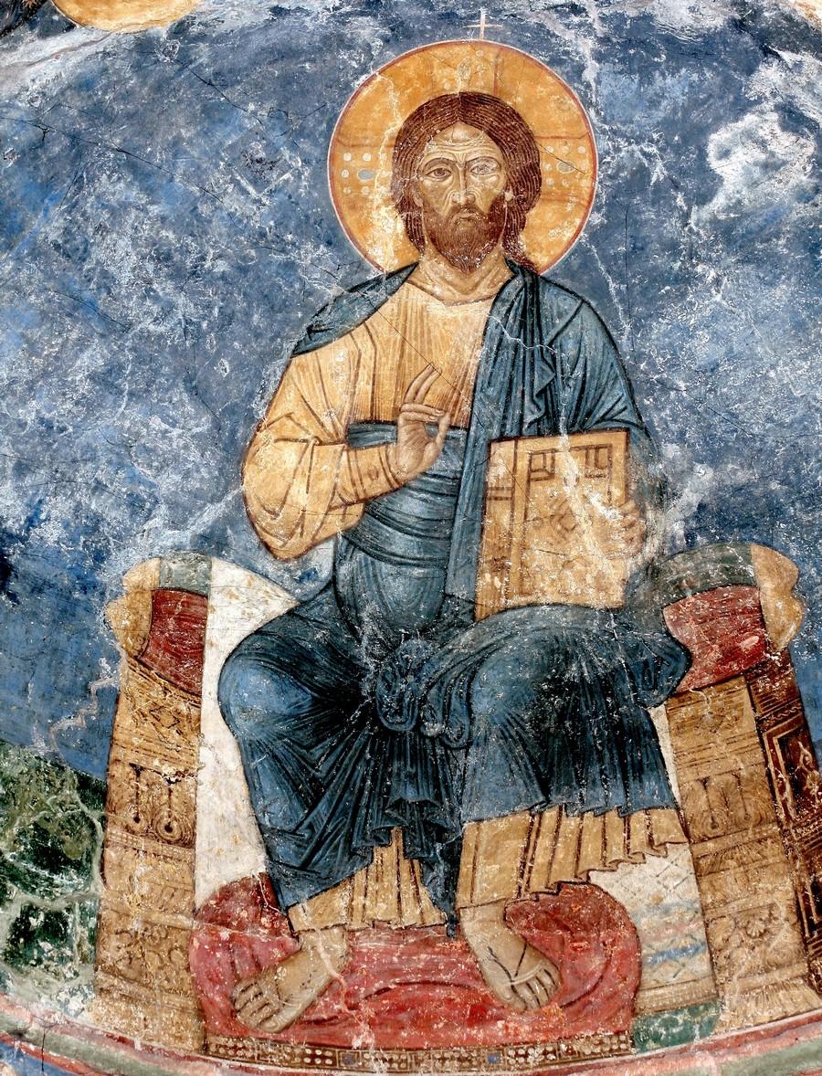Господь Иисус Христос на Престоле. Фреска Спасо-Преображенского собора Мирожского монастыря в Пскове. Около 1140 года.