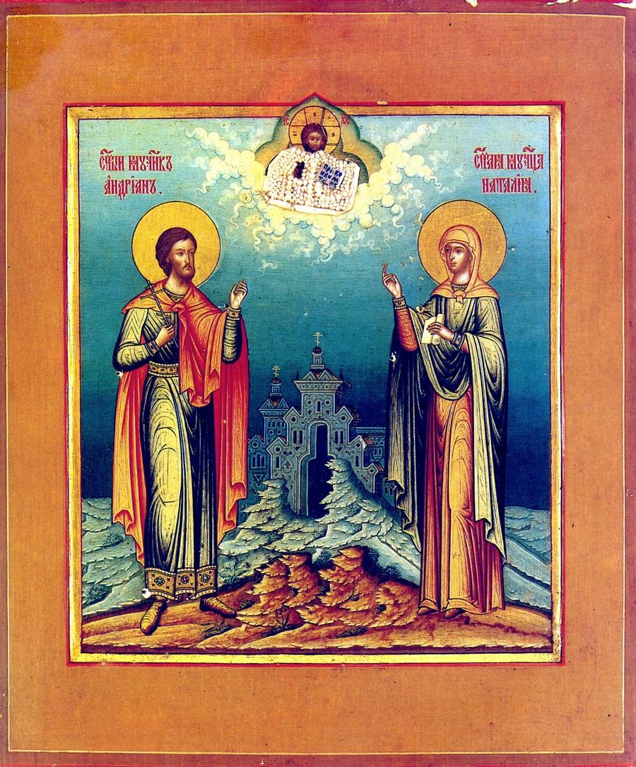 Святые Мученики Адриан и Наталия. Икона. Россия, XIX век.