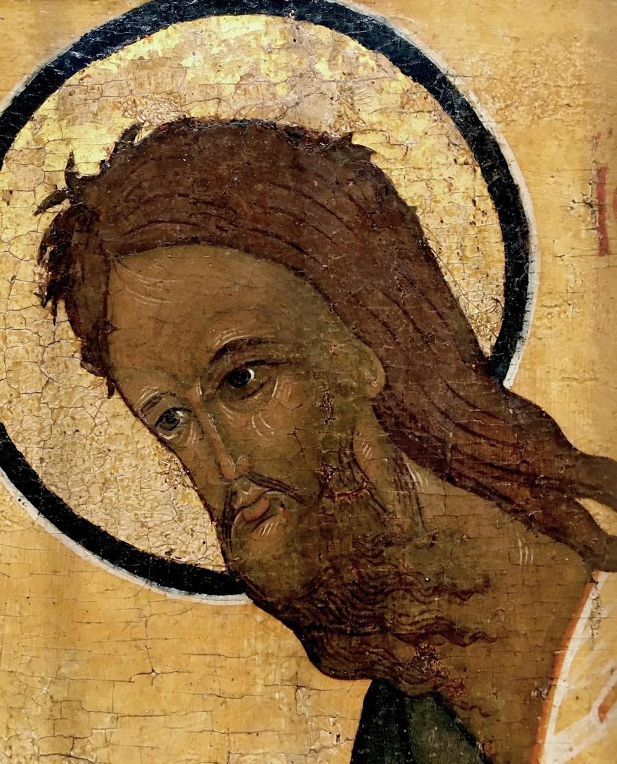 Святой Пророк, Предтеча и Креститель Господень Иоанн. Фрагмент старинной русской иконы.