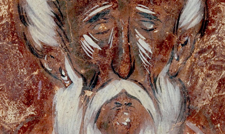 Святой Преподобный Симеон Столпник. Фреска Феофана Грека в церкви Спаса Преображения на Ильине улице в Великом Новгороде. 1378 год.