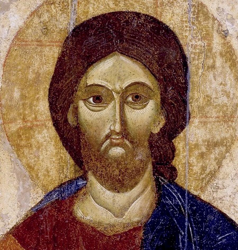 Господь Вседержитель. Икона. Тверь (?), конец XIII века. ГТГ. Фрагмент.