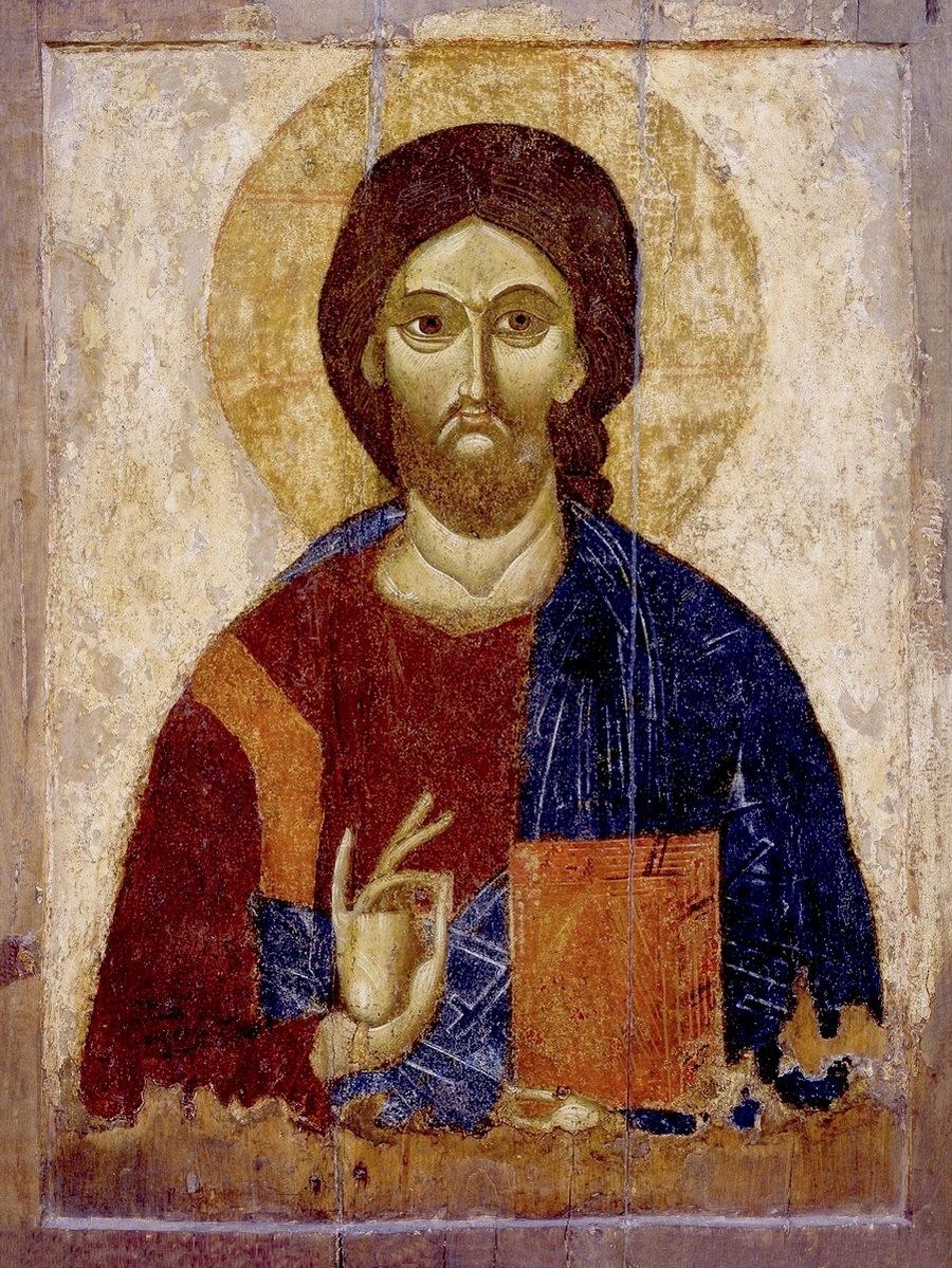 Господь Вседержитель. Икона. Тверь (?), конец XIII века. ГТГ.
