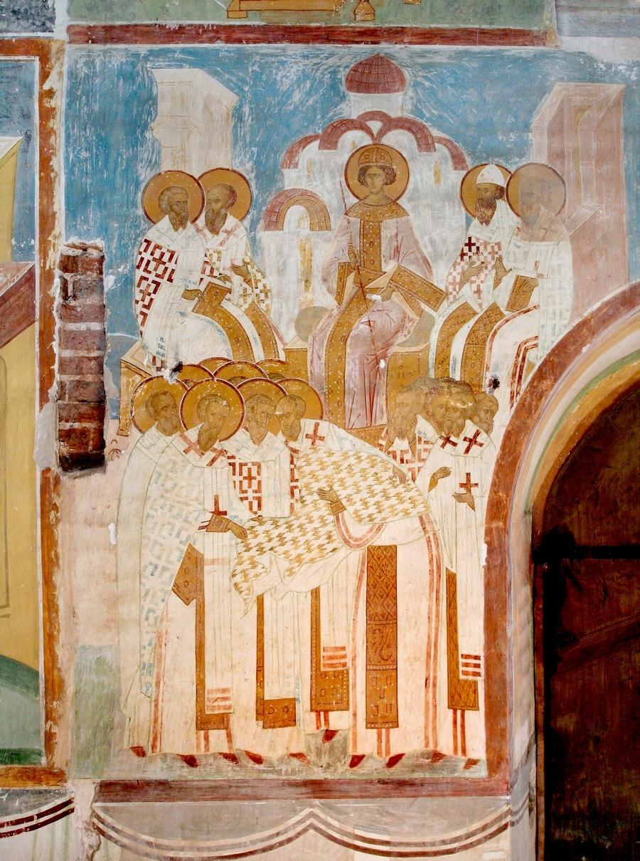 Третий Вселенский Собор. Фреска Дионисия в соборе Рождества Пресвятой Богородицы Ферапонтова монастыря. 1502 год.