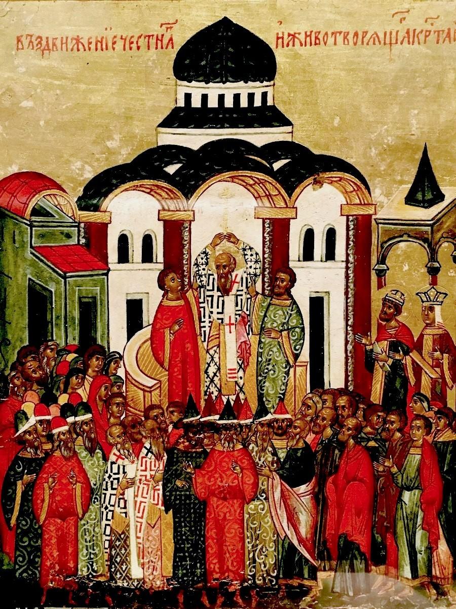 Воздвижение Честного и Животворящего Креста Господня. Икона. Новгород, XVI век.
