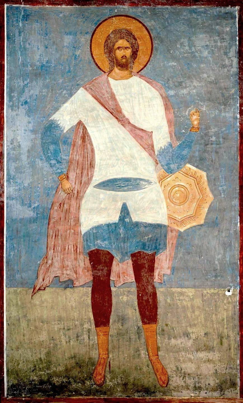 Святой Великомученик Никита Готфский. Фреска Дионисия в соборе Рождества Пресвятой Богородицы Ферапонтова монастыря. 1502 год.